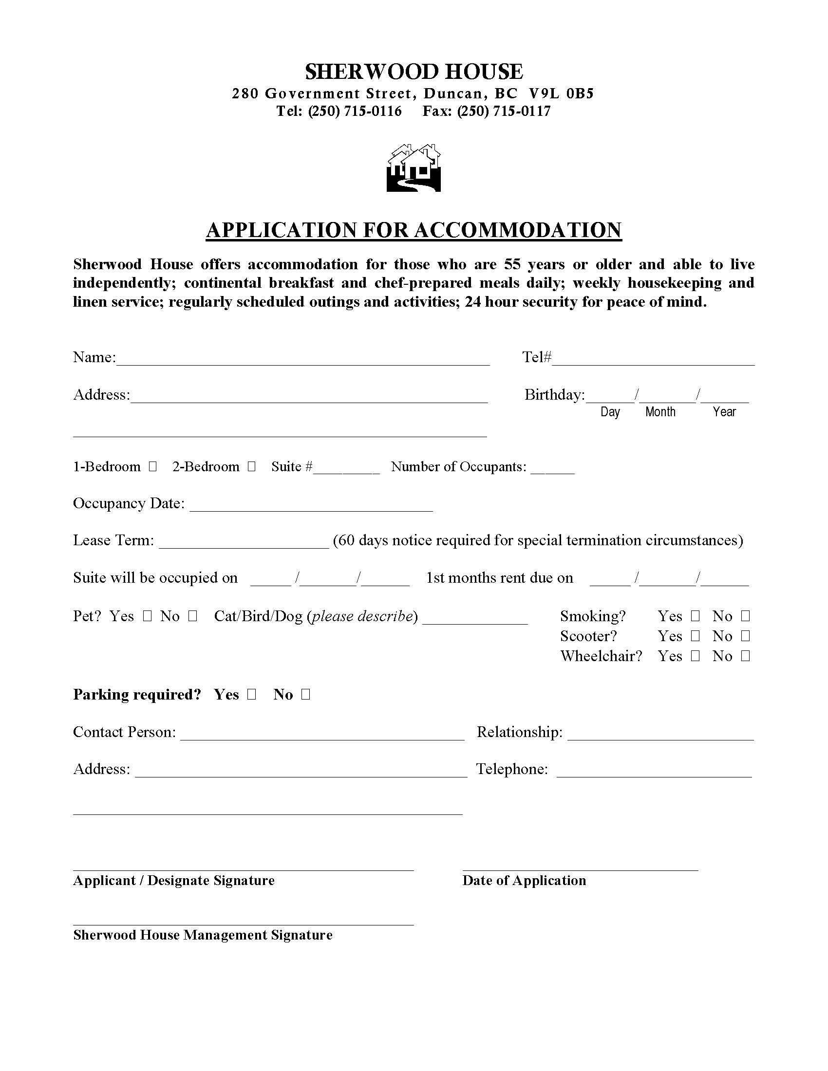 application to rent house