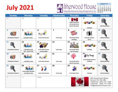Sherwood House Activity Calendar July 2021